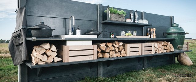 Concrete Outdoor Kitchen by swimming pool